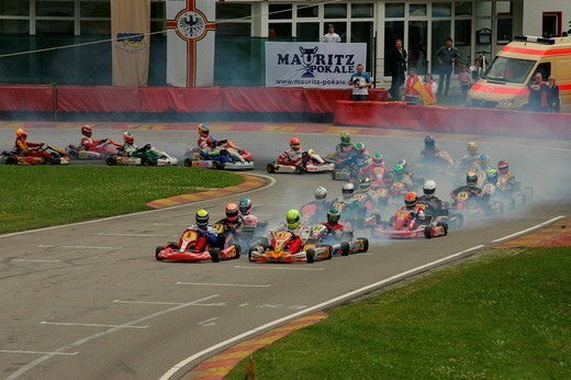 German Kartracing Championships, Kart track in Ampfing, Upper Bavaria, Bavaria, Germany, Europe : Stock Photo