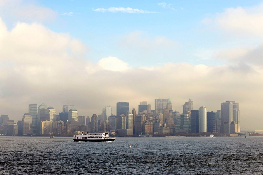 Skyline of Lower Manhattan, State Cruises Ferry, Hudson River, New York City, New York, United States of America, USA, North America : Stock Photo