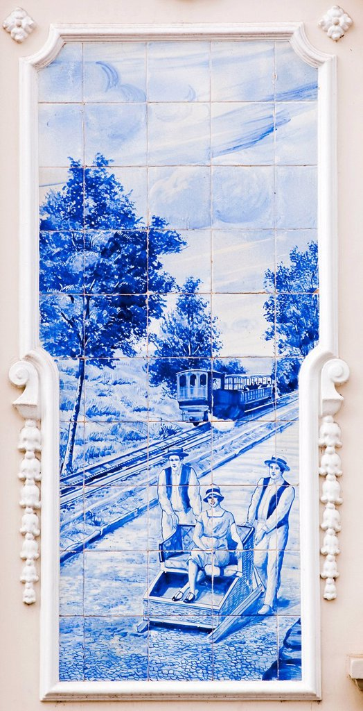 Azulejo, mural of ceramic tiles with a scene with a cog railway and basket sleigh ride in Funchal, on the municipal theater Funchal, Madeira, Portugal, Europe : Stock Photo