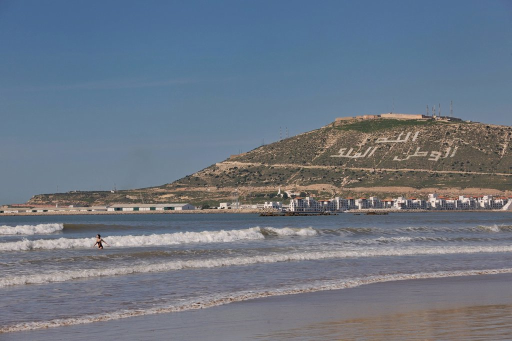 Stock Photo: 1848-600710 Agadir Beach, hill with the words, Allah, al_Watan, al_Malik, meaning Allah, the Homeland, the King, Morocco, Africa