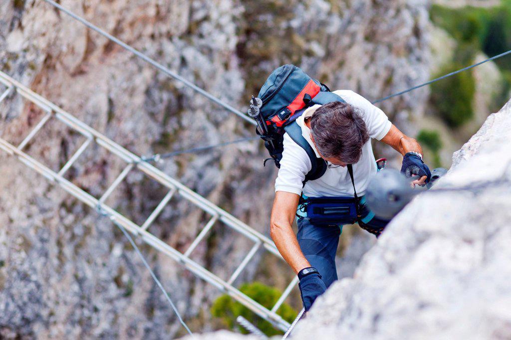 Stock Photo: 1848-600998 Stevia fixed rope route, Langental valley, Val Gardena, Dolomites, province of Bolzano_Bozen, Italy, Europe