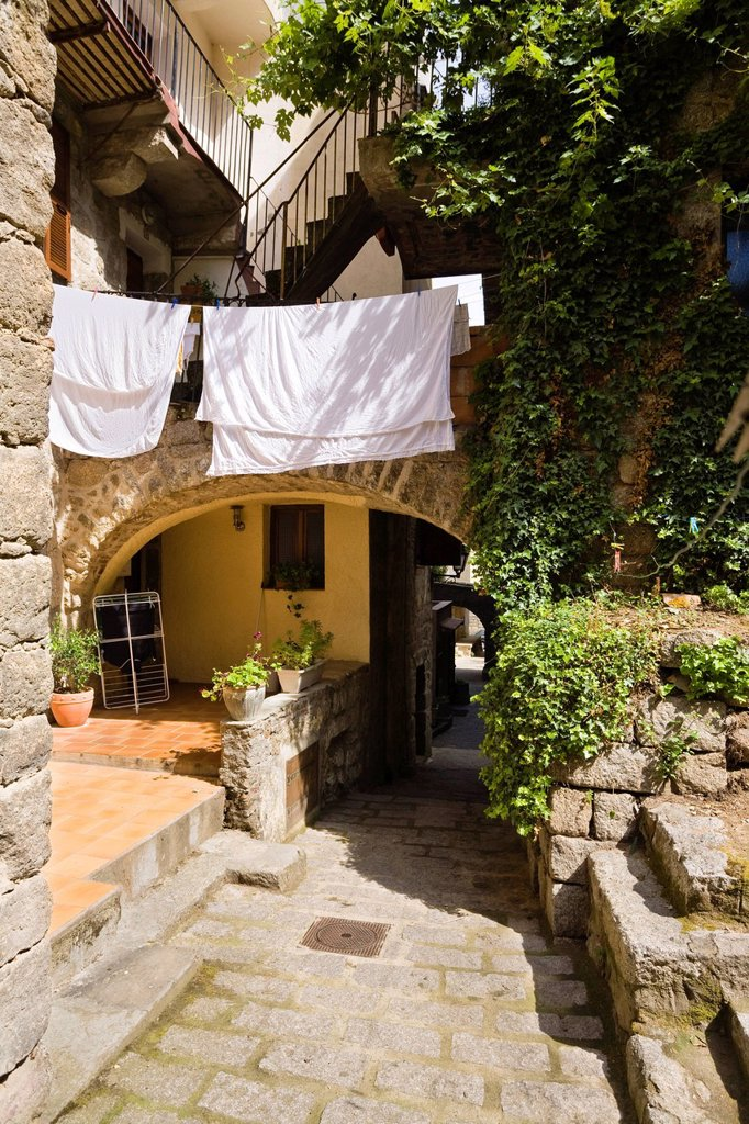 Stock Photo: 1848-601078 Alley with drying laundry, old town of Sartene, Corsica, France, Europe
