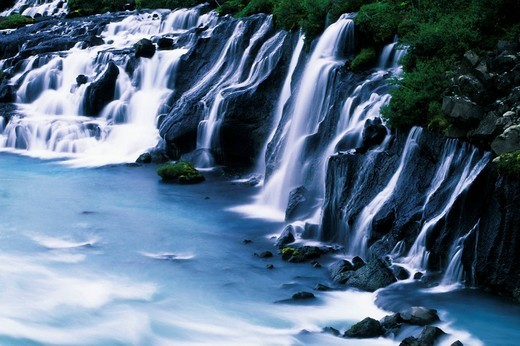 Hraunfossar Waterfall, Iceland, Atlantic Ocean : Stock Photo