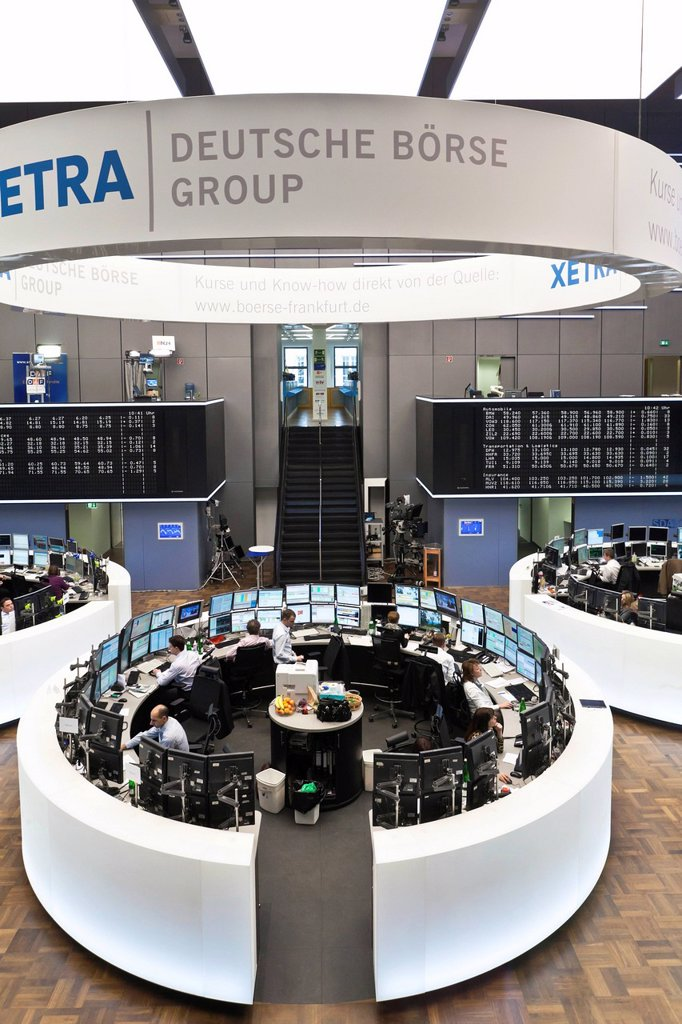 Stock Photo: 1848-601380 Large trading hall of the Frankfurt Stock Exchange, Deutsche Boerse AG in Frankfurt am Main, Hesse, Germany, Europe