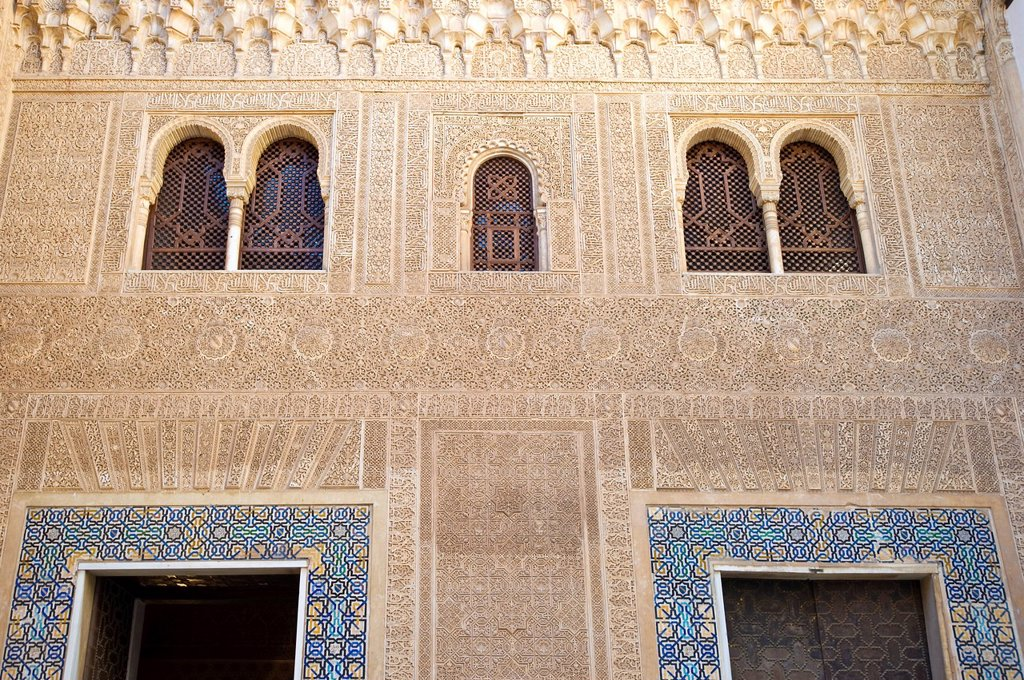 Stock Photo: 1848-601428 Facade detail of the Alhambra, Granada, Andalucia, Spain, Europe