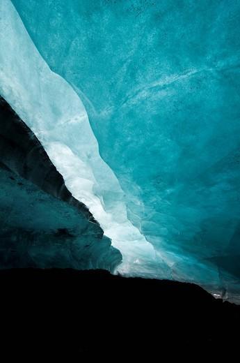 Ice cave on Vatnajoekull, South Coast, Iceland, Scandinavia, Europe : Stock Photo
