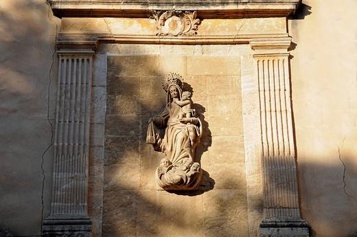Statue of the Virgin Mary, Carmen Church and Monastery, Orihuela, Alicante, Spain : Stock Photo