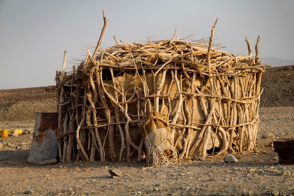 Hut in the Afar village of Hamed Ale, Danakil Depression, Ethiopia, Africa : Stock Photo