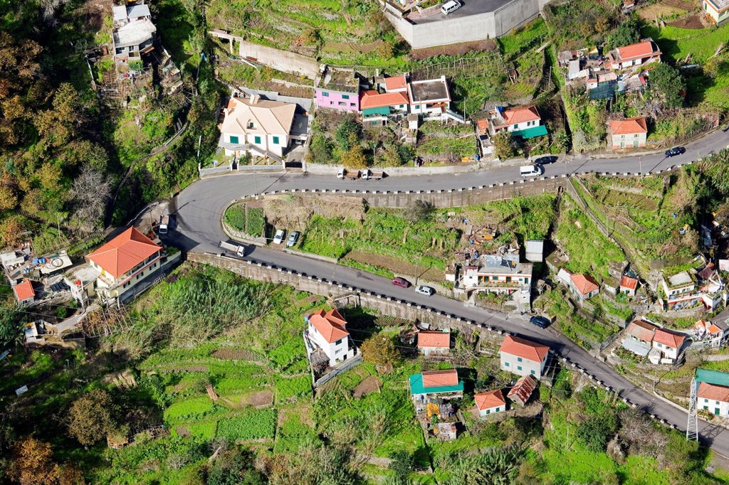 Stock Photo: 1848-602080 Road construction in the Corral of the Nuns or Curral das Freiras, Madeira, Portugal, Europe