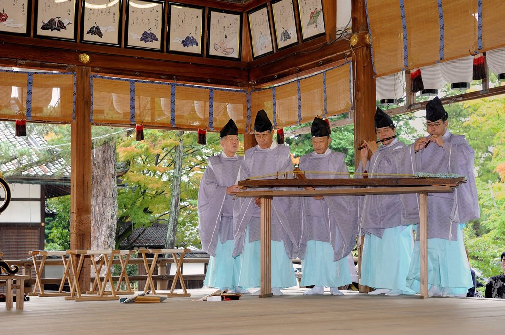 Stock Photo: 1848-602397 Shinto instrumental group in Imamiya Shrine, Jidai_Matsuri Autumn Festival, Kyoto, Japan, Asia