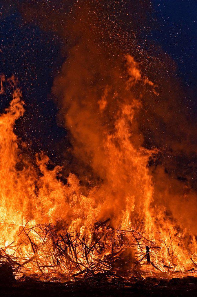 Easter bonfire, Versmold, North Rhine_Westphalia, Germany, Europe : Stock Photo