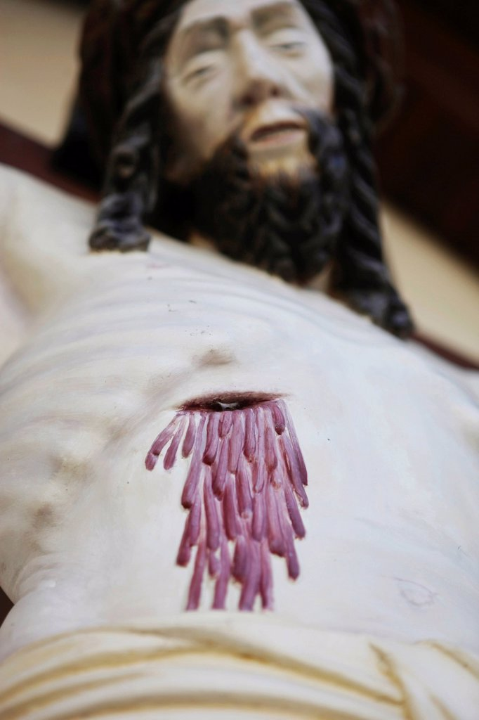 Stock Photo: 1848-603054 Jesus on the cross, bleeding wound, crucifix