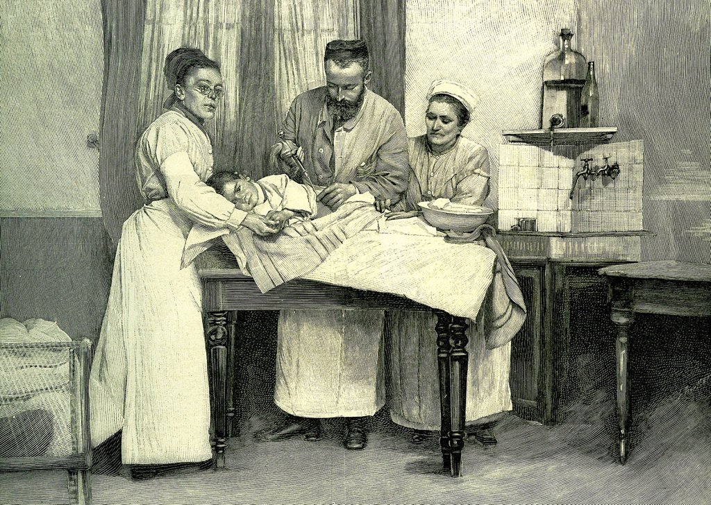 Stock Photo: 1848-603153 Inoculating serum, historical illustration, 1883