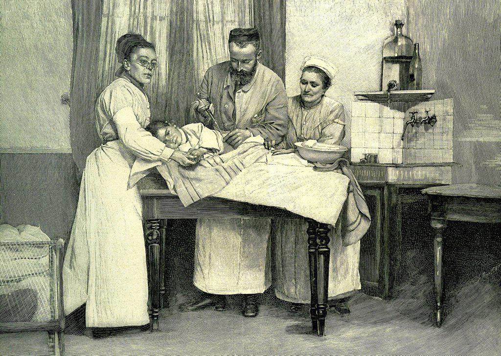 Inoculating serum, historical illustration, 1883 : Stock Photo