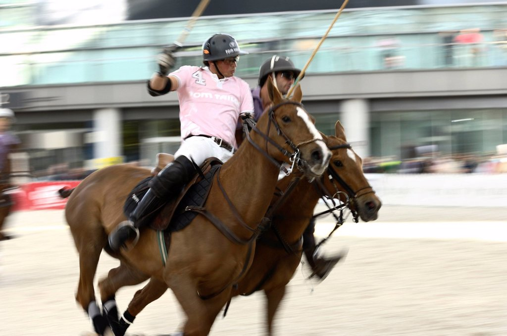 Stock Photo: 1848-603370 Eduardo Anca, left, Tom Tailor polo team against Cristobal Durrieu, right, Baltic Polo Events polo team, Airport Arena Polo Event 2010, Munich, Upper Bavaria, Bavaria, Germany, Europe