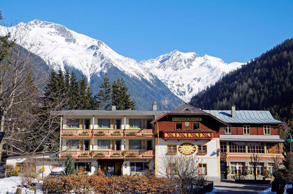Hotel in the town of Mallnitz, Hohe Tauern National Park, Alps, Carinthia, Austria, Europe : Stock Photo