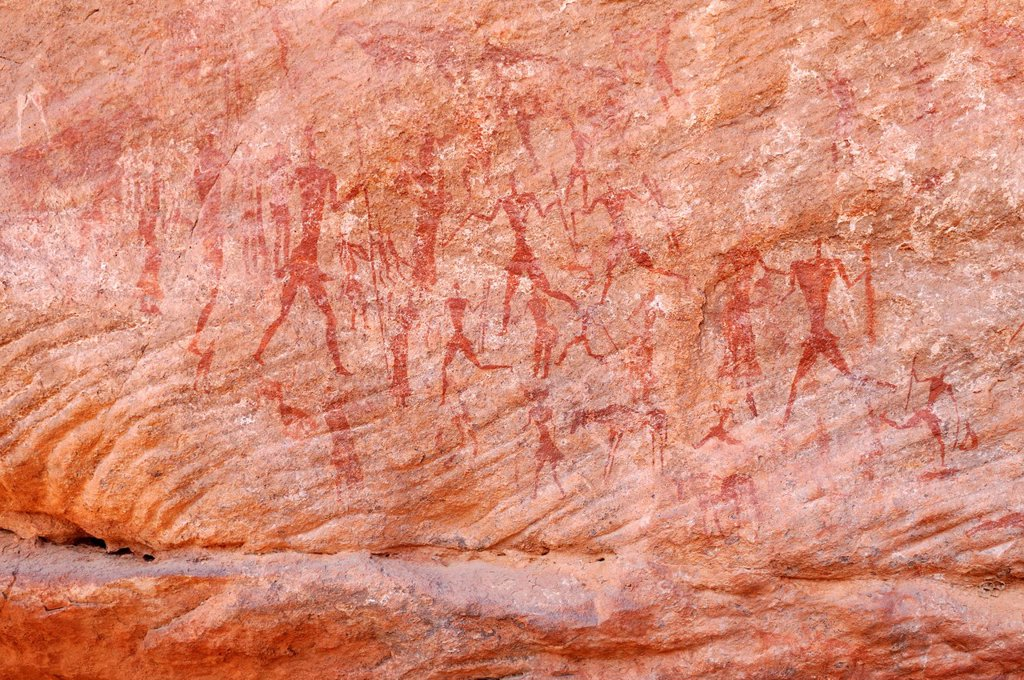 Stock Photo: 1848-603562 Painted people, neolithic rockart of the Acacus Mountains or Tadrart Acacus range, Tassili n´Ajjer National Park, Unesco World Heritage Site, Algeria, Sahara, North Africa