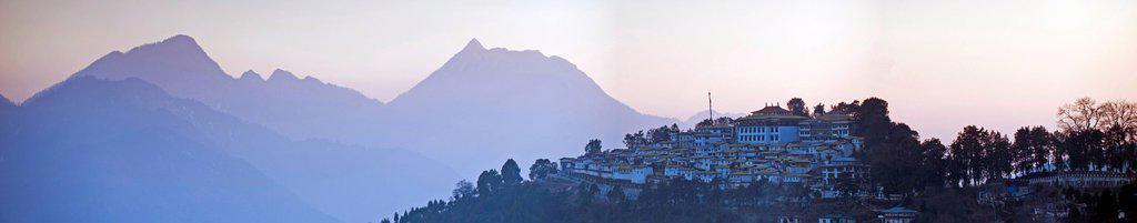 Stock Photo: 1848-603649 Panoramic view, Galden Namgey Lhatse Monastery, the largest Buddhist monastery in India, Tawang, Arunachal Pradesh, India, Asia