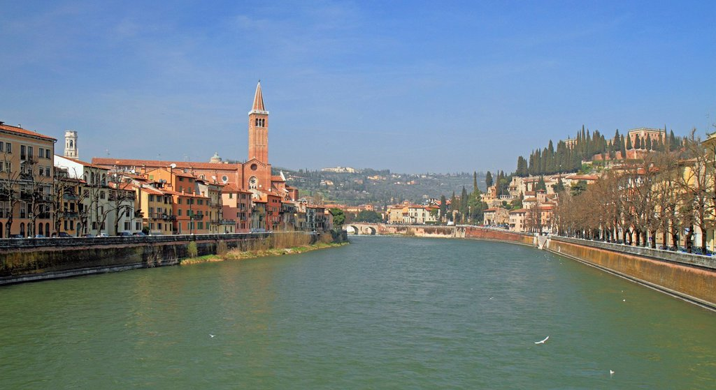 Adige River as seen from Ponte Nuovo bridge with the Church of Sant´Anastasia and the hills of San Pietro, Verona, Veneto region, Italy, Europe : Stock Photo