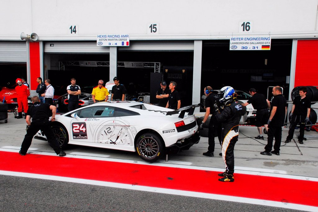 Lamborghini Gallardo, driven by Marc A. Hayek and Peter Kox in the pit lane at the Adria Raceway, Italy, Europe : Stock Photo