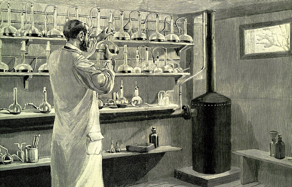 Stock Photo: 1848-603997 Pharmacist, anti_diphtheria serum, historic illustration, 1882