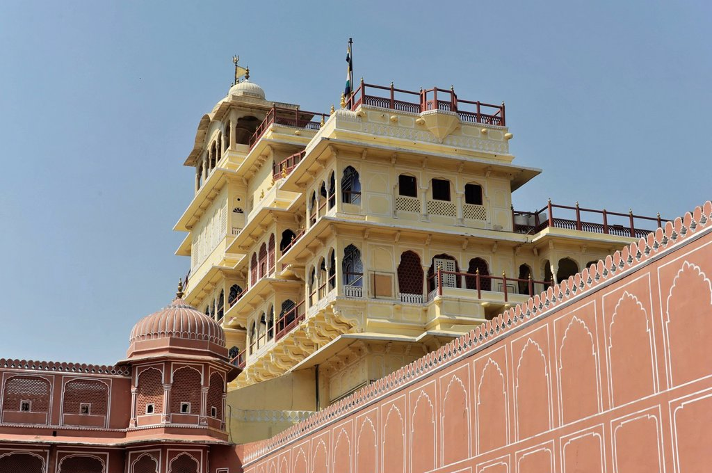Stock Photo: 1848-604095 Chandra Mahal, City Palace, Jaipur, Rajasthan, North India, India, South Asia, Asia
