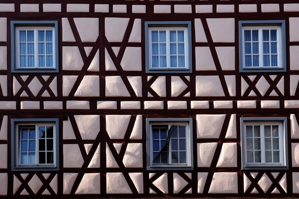 Stock Photo: 1848-604238 Facade of an old half_timbered house, built in 1731, Friedrichstrasse street, Ettenheim, Baden_Wuerttemberg, Germany, Europe