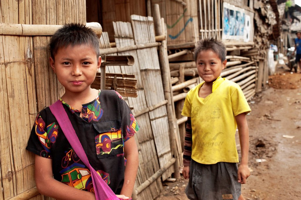 Stock Photo: 1848-604265 Two Karen refugee boys in the Mae La refugee camp, Tak province, Thailand, Asia