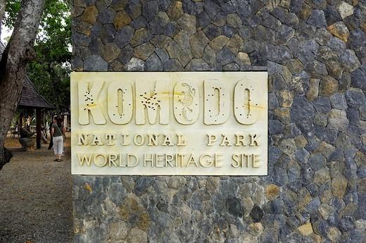 Stock Photo: 1848-60428 Sign, Komodo National Park, World Heritage Site, Komodo, Indonesia, Asia