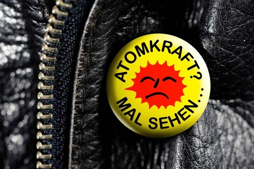 Stock Photo: 1848-604319 Leather jacket with a badge, Atomkraft Mal sehenOe, German for Nuclear Power _ Let´s see...