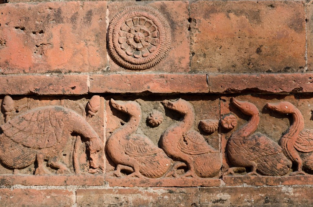 Relief at the Rashmancha brick and terracotta temple, Bishnupur, Bankura district, West Bengal, India : Stock Photo