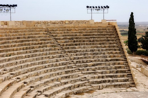 Greco_Roman amphitheatre, archaeological site of Kourion, Cyprus : Stock Photo