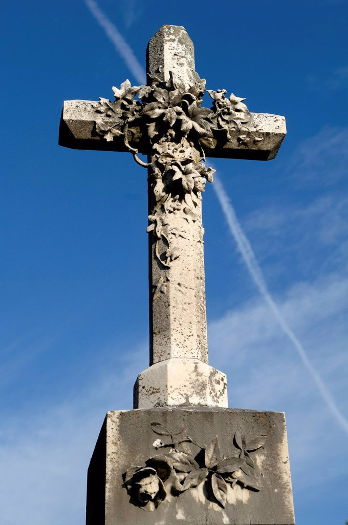 Stock Photo: 1848-604662 Stone cross, 19th Century, against a blue sky in the cemetery of Guebwiller, Route de Colmar, Guebwiller, Alsace, France, Europe