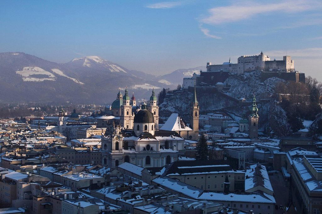 Impressive view of the wintry town of Salzburg, UNESCO World Heritage Site, university, cathedral and castle, Austria, Europe : Stock Photo