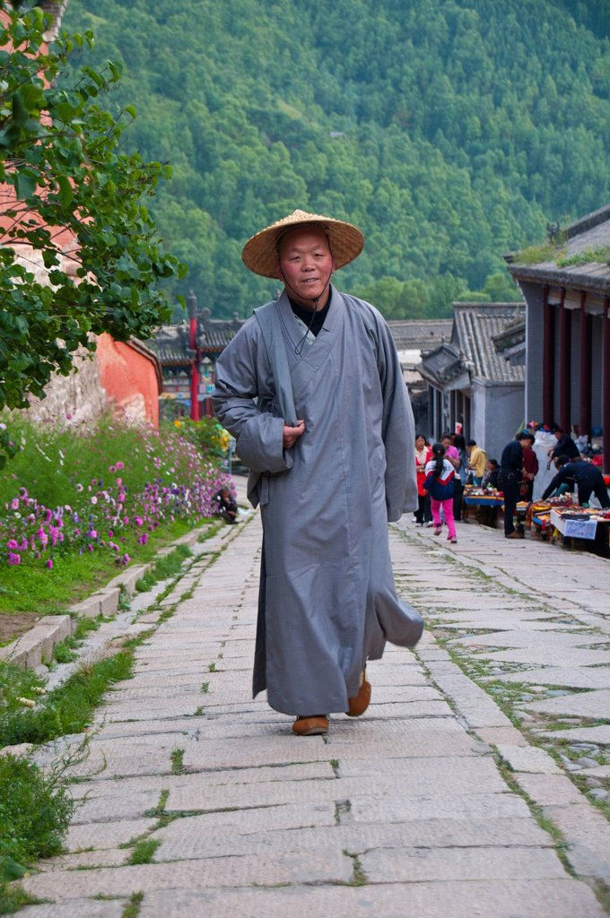 Stock Photo: 1848-605059 Buddhist monk in the Wutai Shan monastic site, Mount Wutai, Unesco World Heritage Site, Shanxi, China, Asia