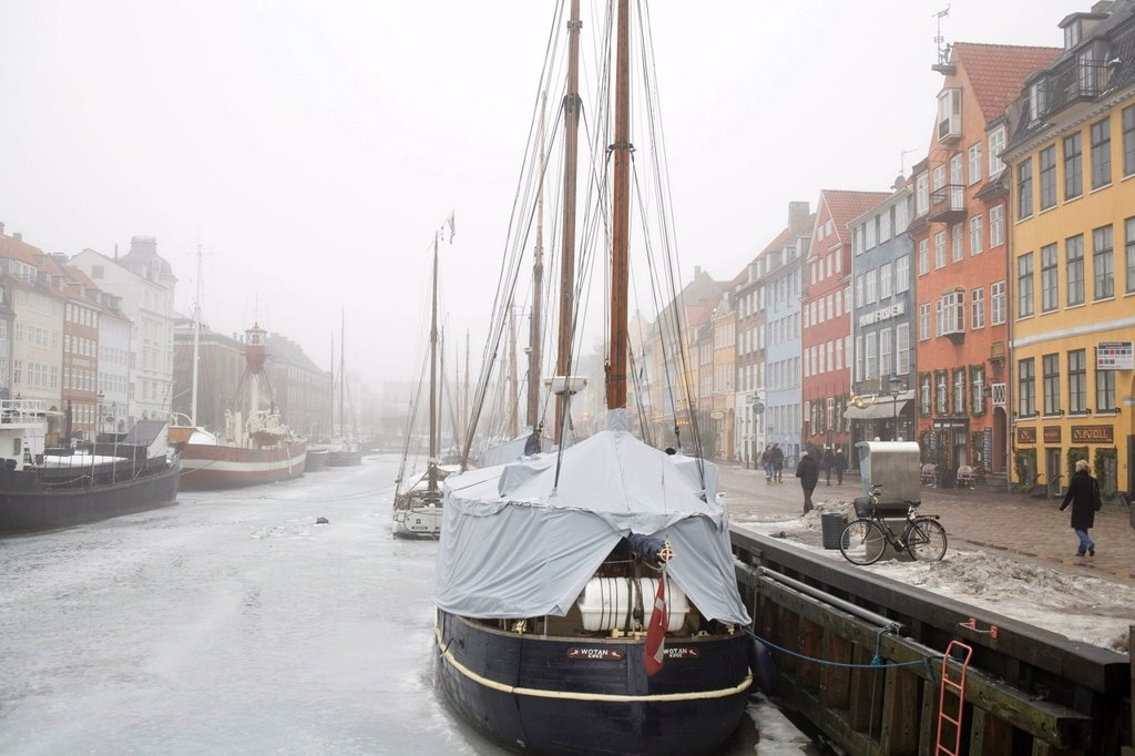 Nyhavn in winter, port of Copenhagen, Denmark, Europe : Stock Photo