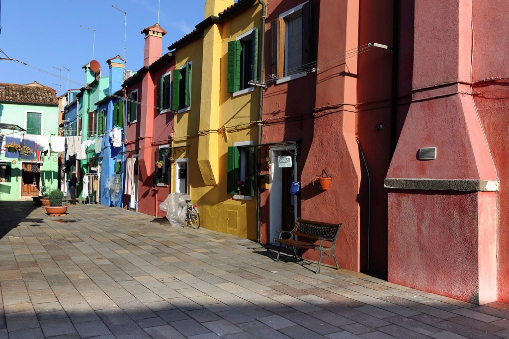 Colourful houses, chimneys are on the outside of the building because of a fire hazard, Burano Island, Venice, Italy, Southern Europe : Stock Photo