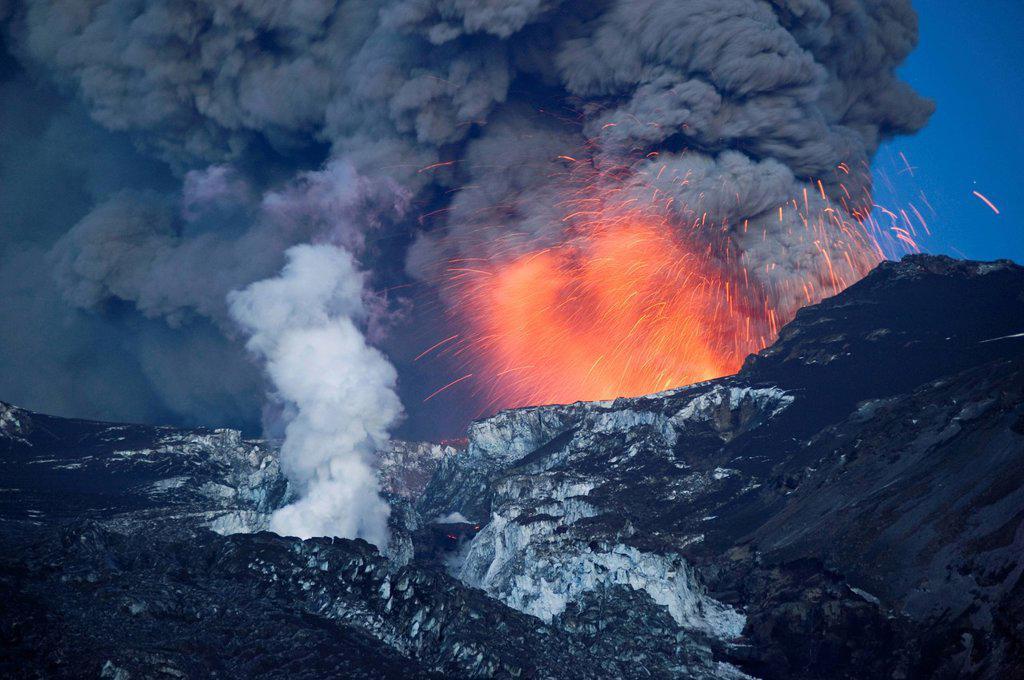 Eruption of Eyjafjallajoekull volcano, Iceland, Europe : Stock Photo