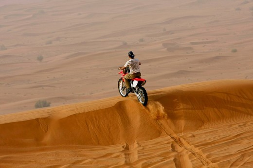 Motorbike, desert safari, Dubai, United Arab Emirates, Middle East : Stock Photo