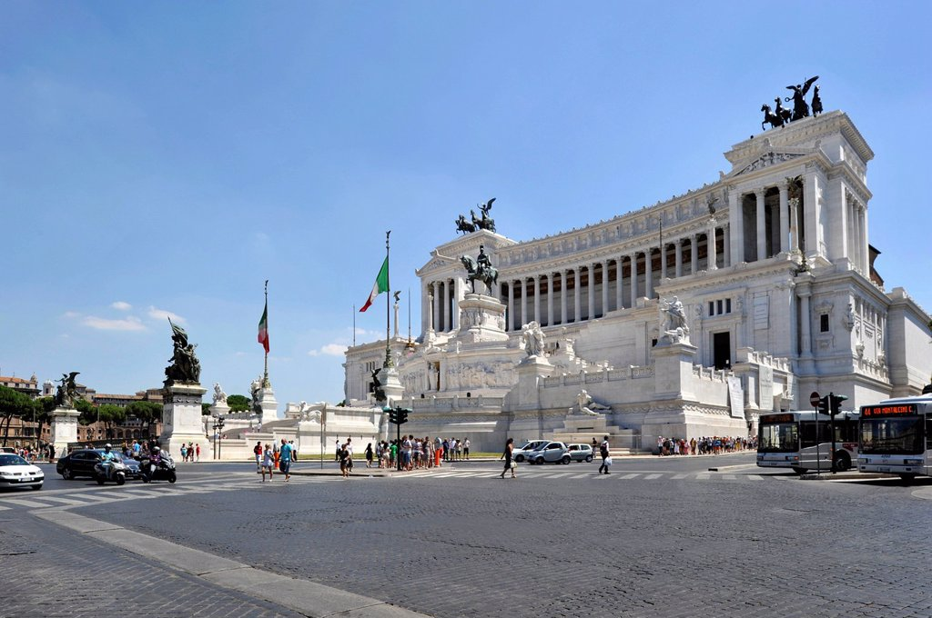 Stock Photo: 1848-606285 Italian National Monument to King Vittorio Emanuele II, Piazza Venezia, Rome, Lazio, Italy, Europe