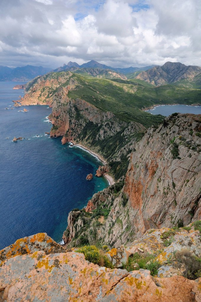 Coastal cliffs of Capu Rosso Peninsula on the west coast of Corsica, France, Europe : Stock Photo