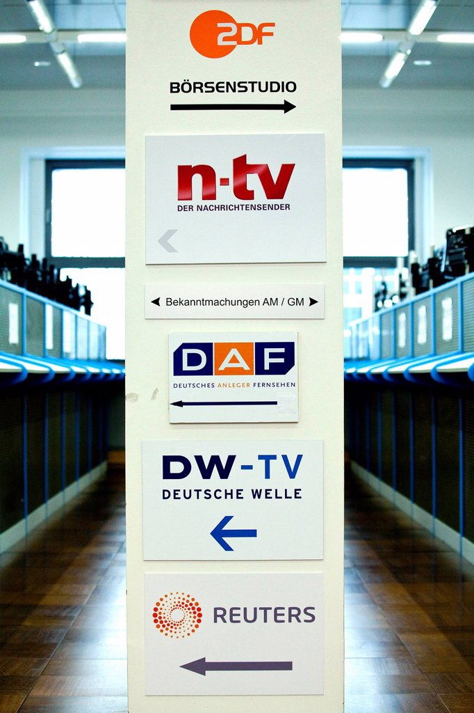 Stock Photo: 1848-606953 Sign with the names of TV stations that report live from the trading floor of the Frankfurt Stock Exchange, Deutsche Boerse AG, Frankfurt am Main, Hesse, Germany, Europe