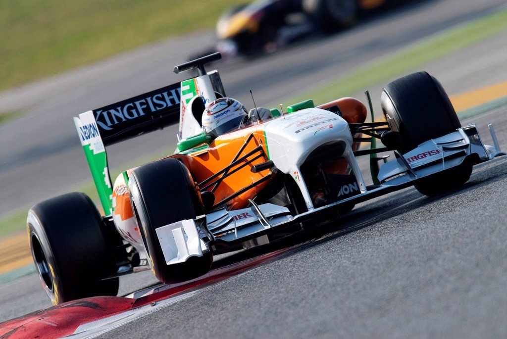 Stock Photo: 1848-607230 Adrian Sutil, Germany, driving his Force India_Mercedes VJM04, motor sports, Formula 1 testing at Circuit de Catalunya in Barcelona, Spain, Europe