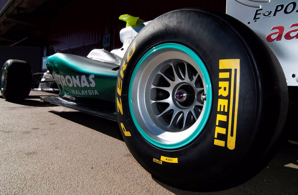 Stock Photo: 1848-607234 Pirelli tires on a Mercedes GP_Mercedes MGP W02, Formula 1 testing at the Circuit de Catalunya race track in Barcelona, Spain, Europe