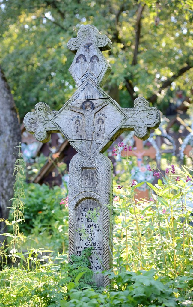 Stock Photo: 1848-607448 Crosses in the cemetery of the wooden church Biserica Din Deal, Leude Suzani, Iza Valley, Maramures, Romania, Europe