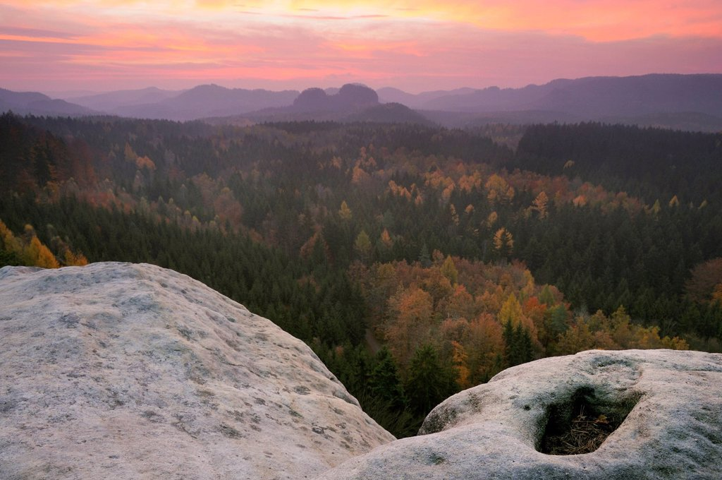 Stock Photo: 1848-607602 View of Saxon Switzerland at sunrise as seen from a cowshed, Saxony, Germany, Europe