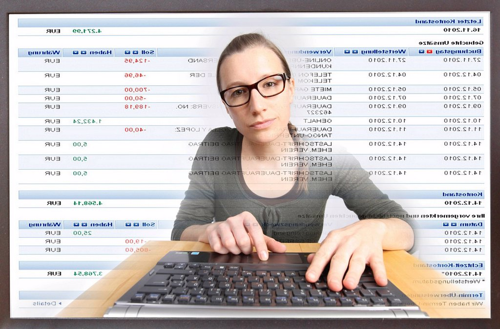 Stock Photo: 1848-607869 Young woman sitting at a computer surfing the Internet, viewing an Internet banking page, Deutsche Bank, viewing her account statements online, view from within the computer, symbolic image