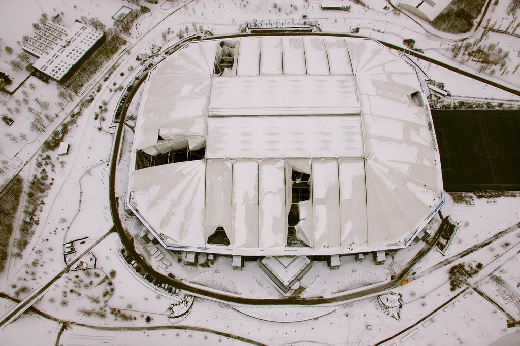 Stock Photo: 1848-608274 Aerial view, Veltins_Arena football stadium, also known as Schalke Arena stadium, snow_damaged roof, Gelsenkirchen, Ruhr area, North Rhine_Westphalia, Germany, Europe
