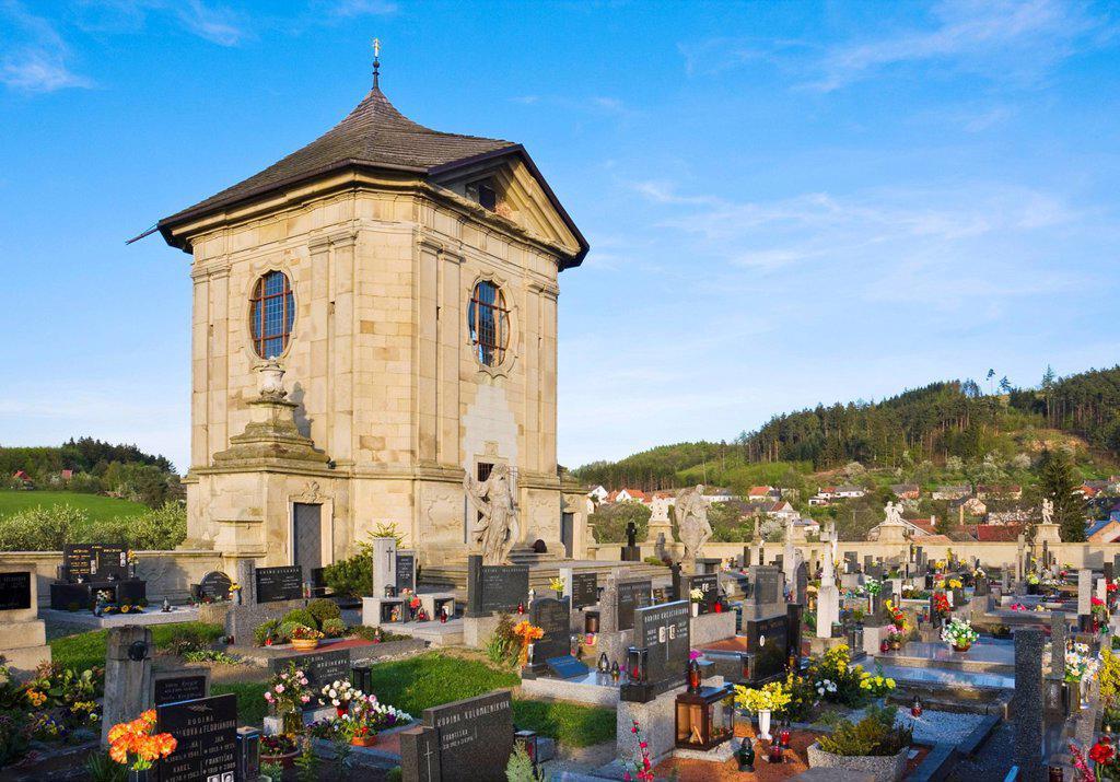 Baroque cemetery, National Monument, Strilky, Kromeriz district, Zlin region, Moravia, Czech Republic, Europe : Stock Photo