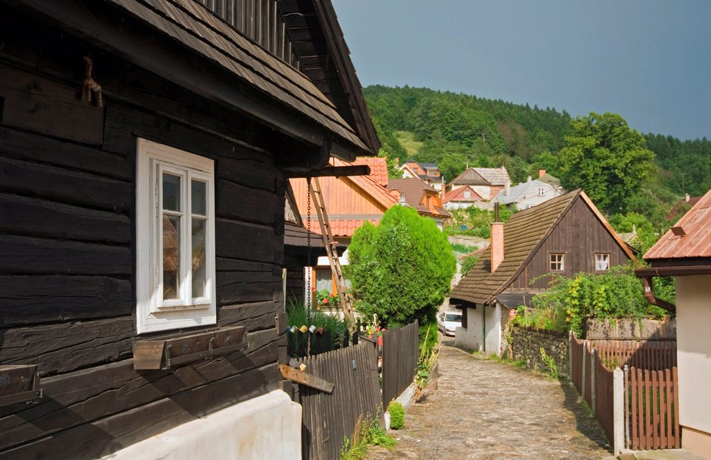 Stock Photo: 1848-608301 Timbered houses from 18th _ 19th century, Jaronkova ulicka, Stramberk, Stramberg, Moravian_Silesian Region, Czech Republic, Europe
